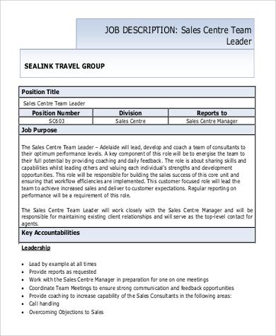 team lead sales job description format