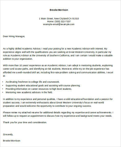 cover letter for academic advisor position - Cover Letter For College Professor