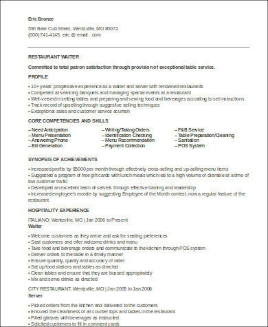 Waiter Resumes Head Waiter Resume Example Sample Waiter Resume