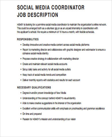 Social Media Job Description Sample - 9+ Examples In Word, Pdf