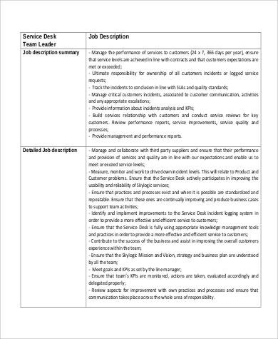 Standard Team Leader Service Desk Job Description