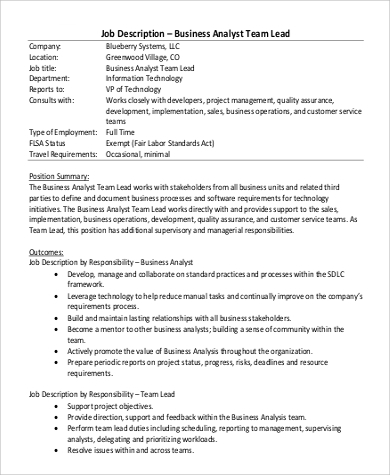Team Lead Job Description Sample - 9+ Examples In Pdf