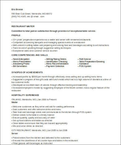 hotel waiter resume format