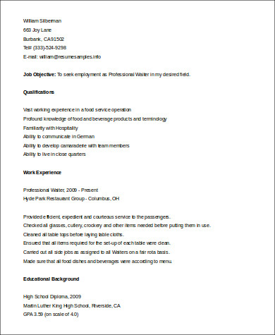 Sample Waiter Resume   Examples In Word Pdf
