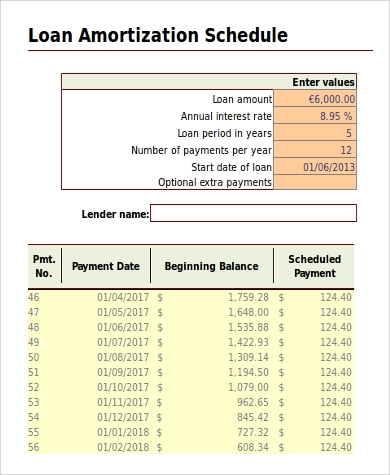 sample amortization excel 6 examples in excel