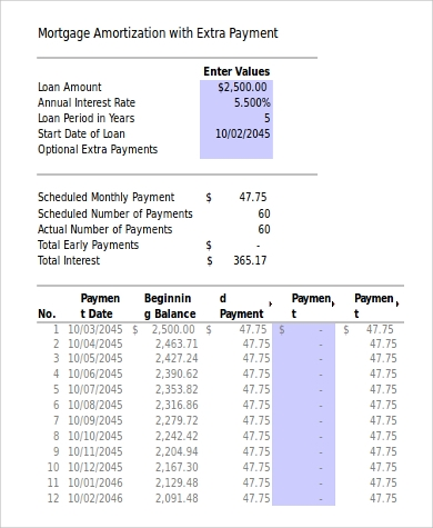amortization with extra payment