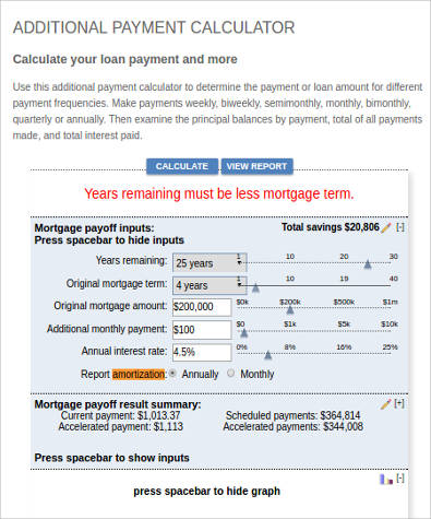 Sample Annual Payment Calculator   Examples In Xls