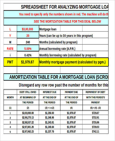 sample amortization mortgage 8 examples in word pdf excel