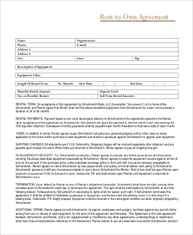 rent to own property agreement