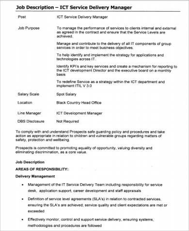 service delivery manager job description