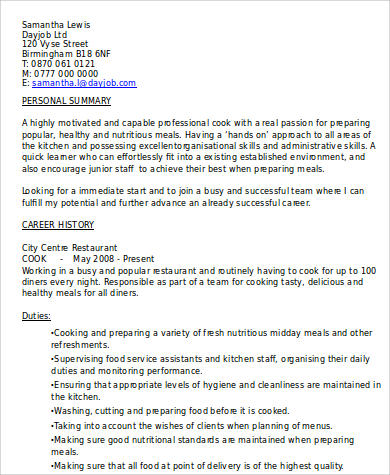8 sample cook resumes sample templates