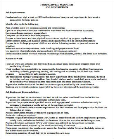 food service manager job description pdf