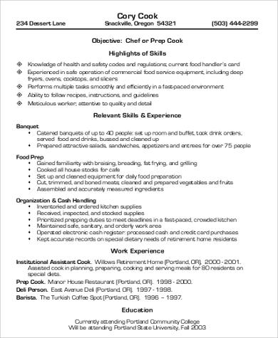 Sample Cook Resume   Examples In Word Pdf