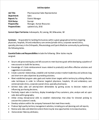 Sales Rep Job Description Sample   Examples In Word Pdf