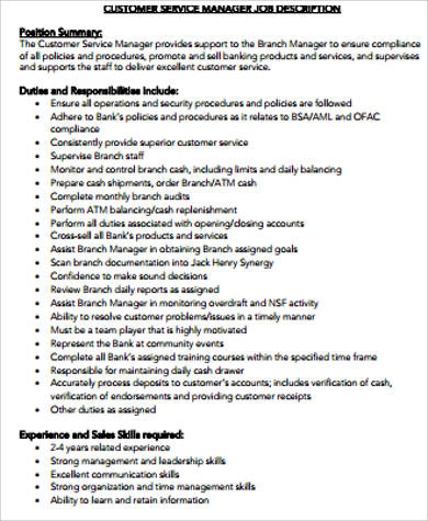 service manager bank job description