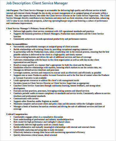 Service Manager Job Description Sample 11 Examples In Word Pdf