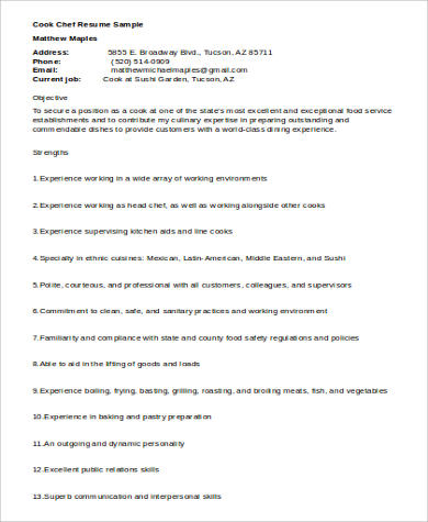 chef cook resume