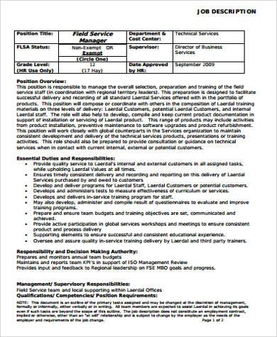 technical service support manager job description
