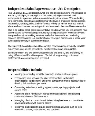 Sample Sales Representative Job Description 9 Examples