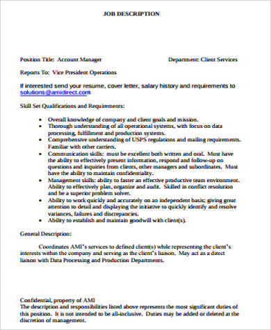 Service Manager Job Description Sample 11+ Examples In Word, Pdf  Account Manager Job Description