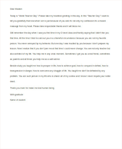 Sample Thank You Letter To Teacher   Examples In Word Pdf