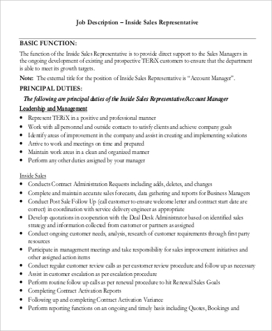 Sales Rep Job Description Sample - 9+ Examples in Word, PDF