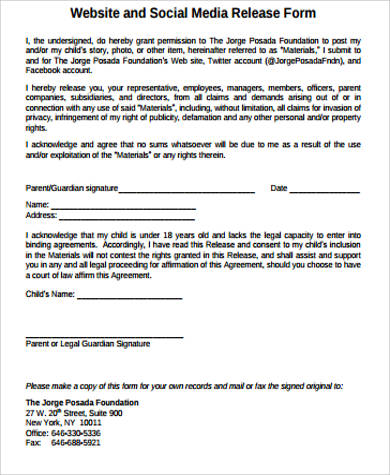 Sample Social Media Release Form