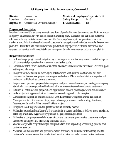 commercial sales rep job description
