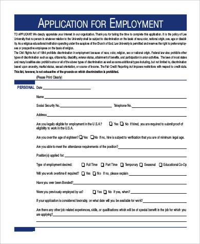 standard employment application