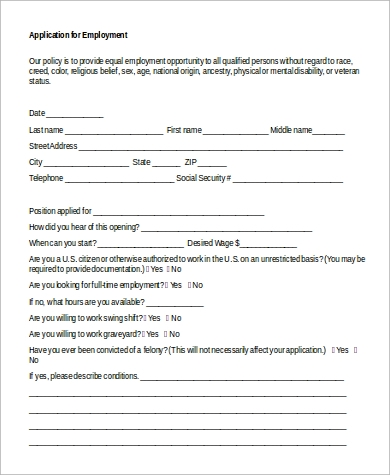 employment application in word