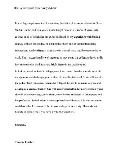 college admission recommendation letter pdf