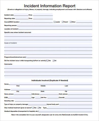 15 incident report samples sample templates for Serious incident report template