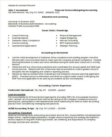 accountant resume in word