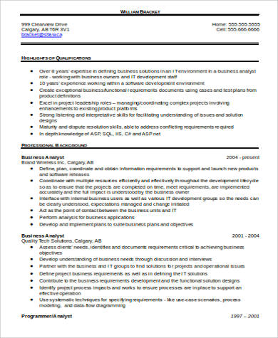 business analyst word resume