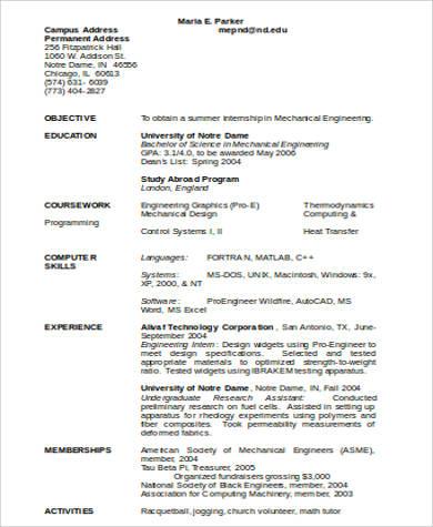 engineer resume in word