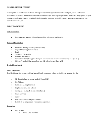 format for professional resume