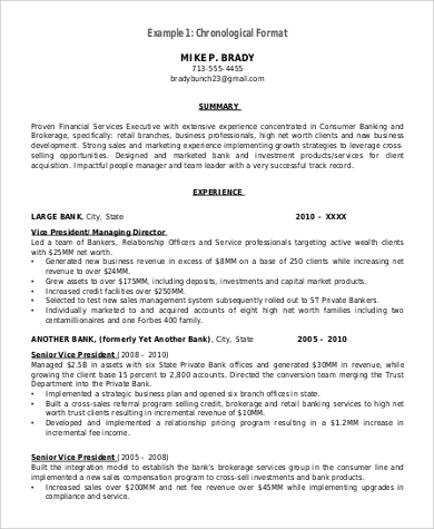 chronological resume format in pdf