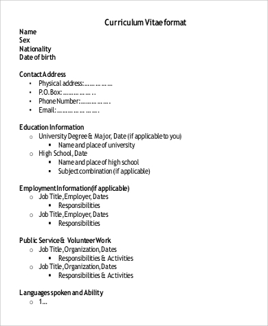 free employment resume format resume dates format - Resume Nationality