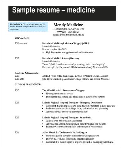 format for medicine resume
