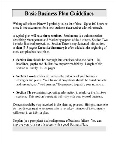 Short Business Plan Template Peccadillous - Standard business plan template