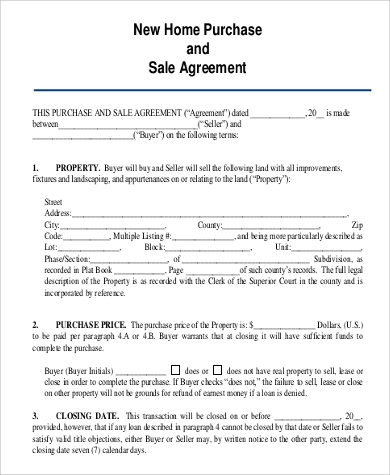 Home Purchase Agreement Sample   Examples In Pdf