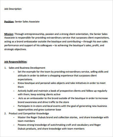 senior sales associate job description