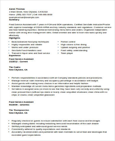 Food Service Assistant Resume