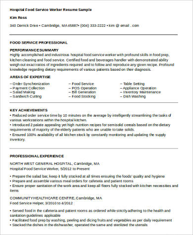 Sample Hospital Food Service Resume