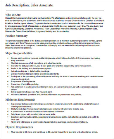 Sales Associate Job Description Sample   Examples In Word Pdf