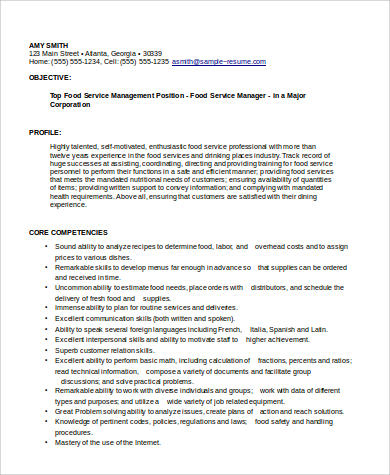 food service manager resume format