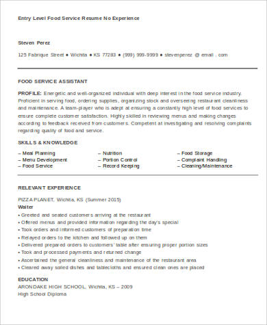 entry level food service resume