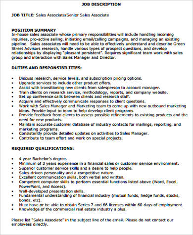 sales associate manager job description