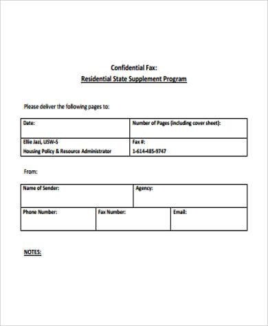 printable confidential fax cover sheet