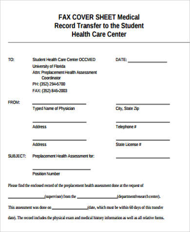 printable fax cover sheet medical